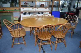 Light Oak Extending Oval Dining Table with Six Win