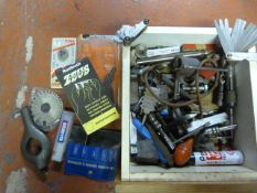Box of Engineering Tools Including Gauges, Clamps, Zeus Data Manual, etc.