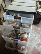 Plastic Storage Unit with Quantity of Paints and C