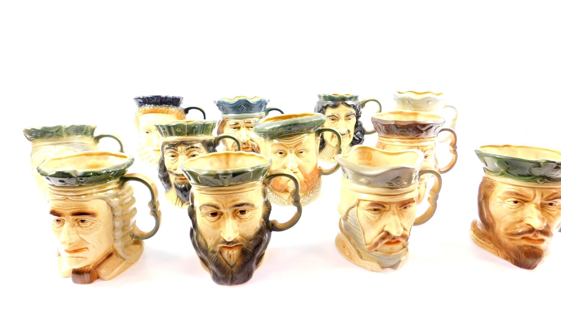Lot 40 - Twelve Kingston Pottery Hull large character jugs, printed marks, comprising Charles I, Charles