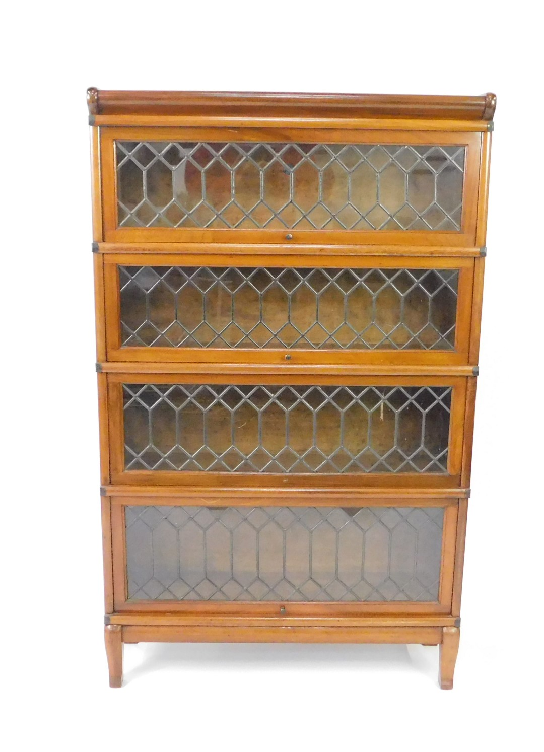 Lot 6 - An early 20thC Globe Wernicke mahogany four section bookcase, with astragal glazed up and over