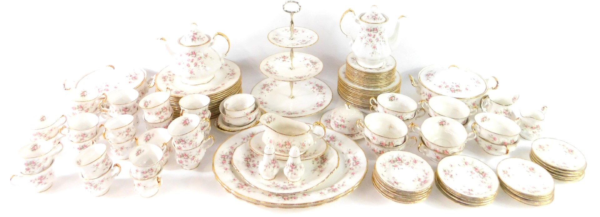 Lot 39 - A Paragon porcelain dinner tea and coffee service decorated in the Victoriana Rose pattern,