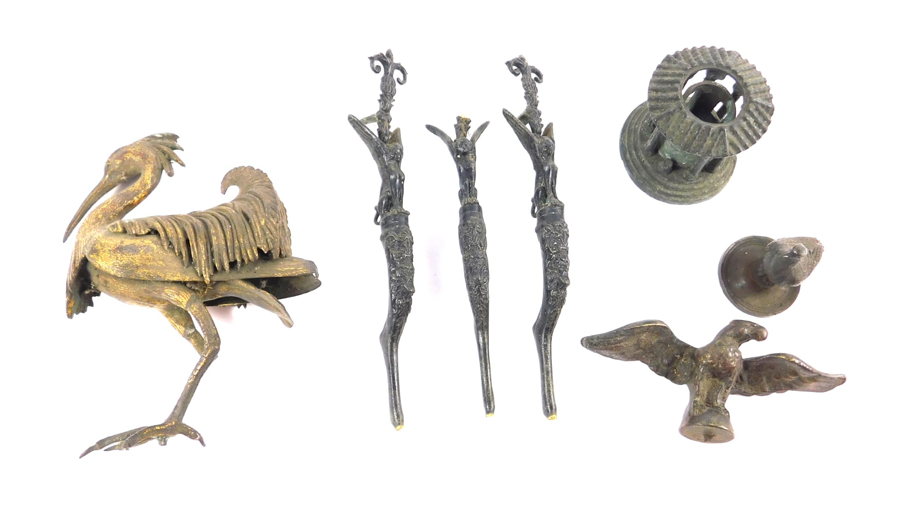 Lot 50 - A late 19thC Continental ormolu figure of a heron, modelled in standing pose, (AF), a metal lid with