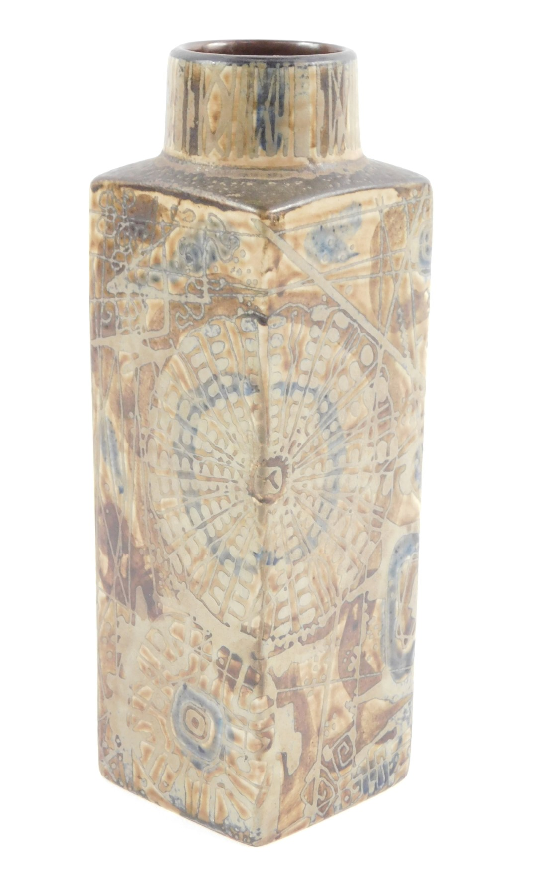Lot 5 - A Royal Copenhagen Fajance Baca Series vase, designed by Nils Thorsson, of rectangular form,