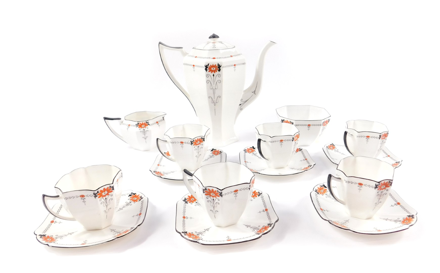 Lot 7 - An early 20thC Shelley porcelain part coffee service, decorated in the Red Daisy pattern, No