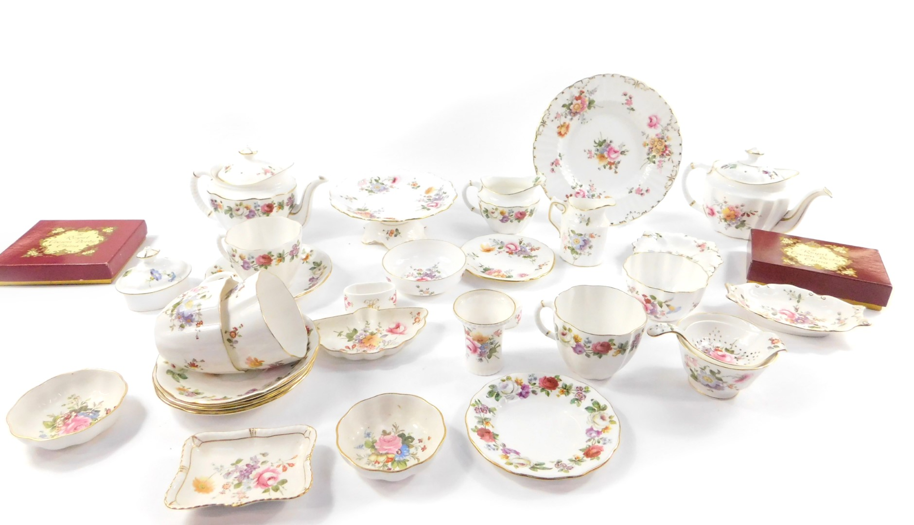 Lot 36 - A group of Royal Crown Derby porcelain decorated in the Derby Posies pattern, including teapots,