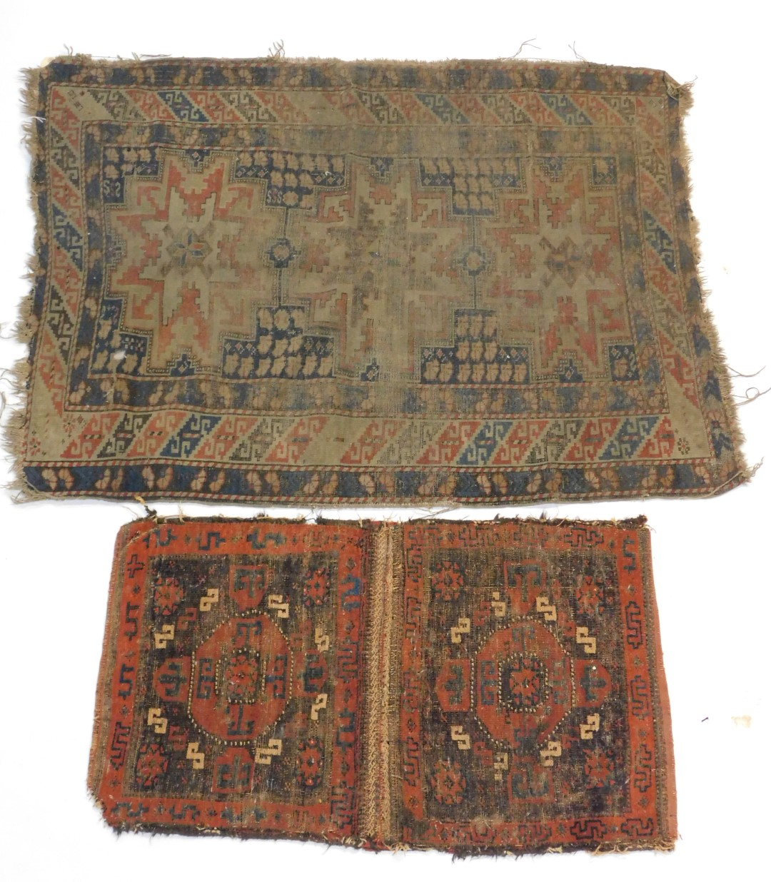 Lot 46 - A 19thC Bokhara double bag face, and a Caucasian rug of geometrical design, 133cm x 100cm. (both