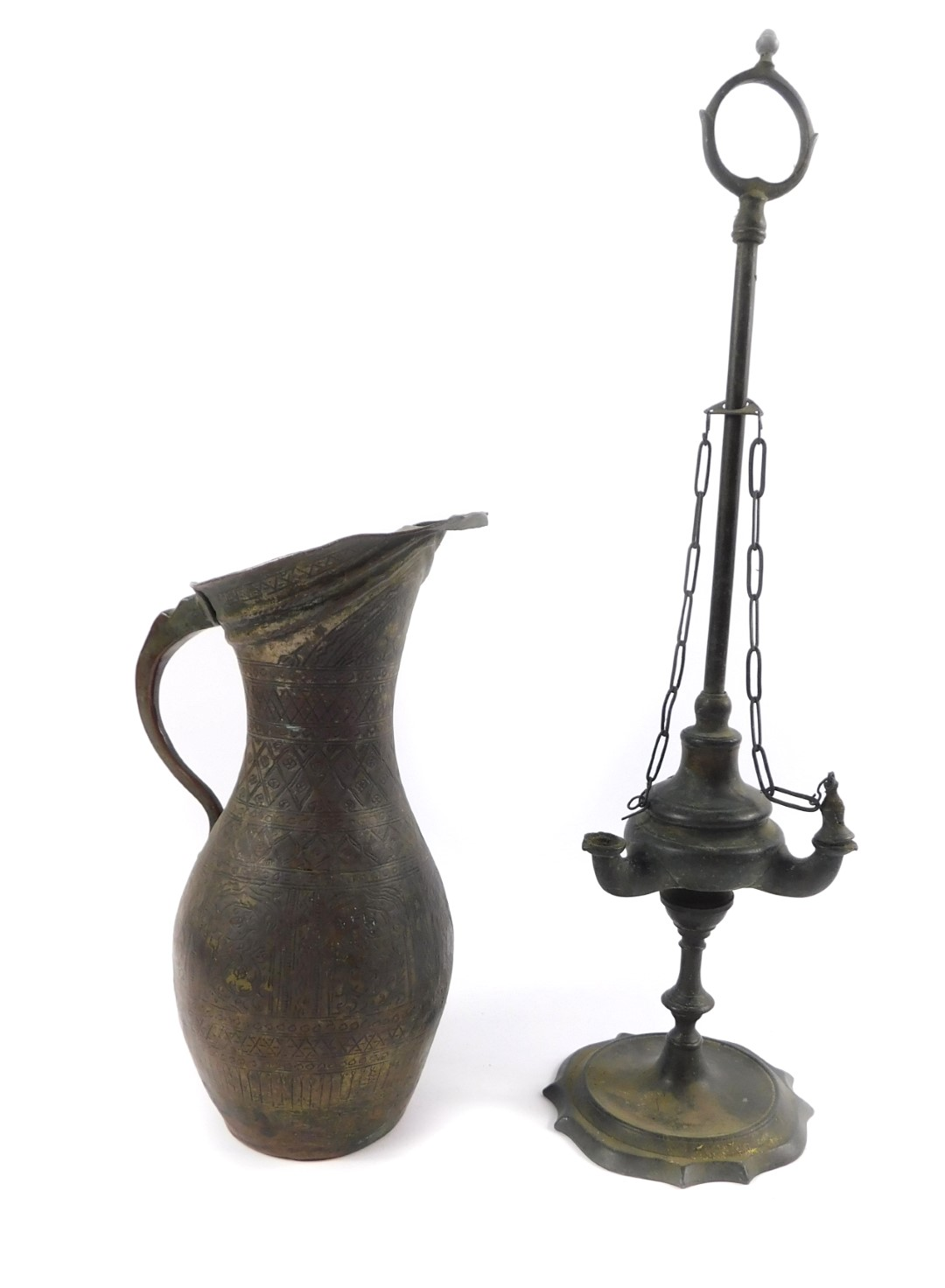 Lot 60 - A 19thC brass oil lamp, of Roman oil lamp form, with long carrying handle, the body with three