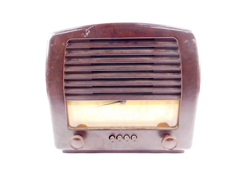 Lot 9 - A GEC brown bakelite radio, Cat No BC4650L, Inst. No KX1945, 34cm H, 37.5cm W.