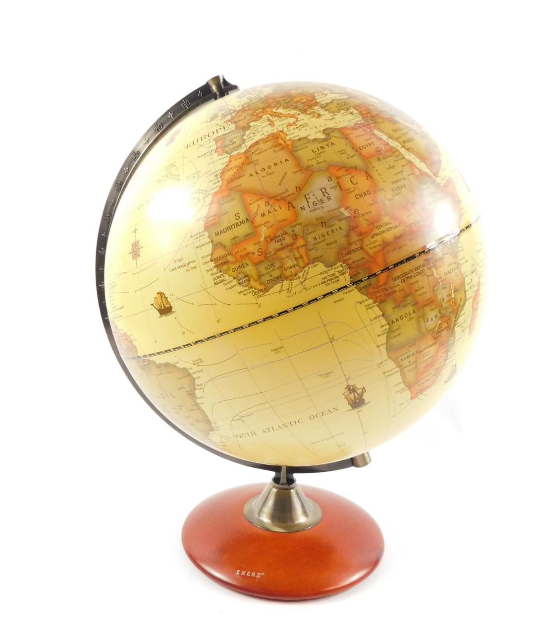 Lot 42 - An Exerz terrestrial 'antique' desk top globe, 41cm H.