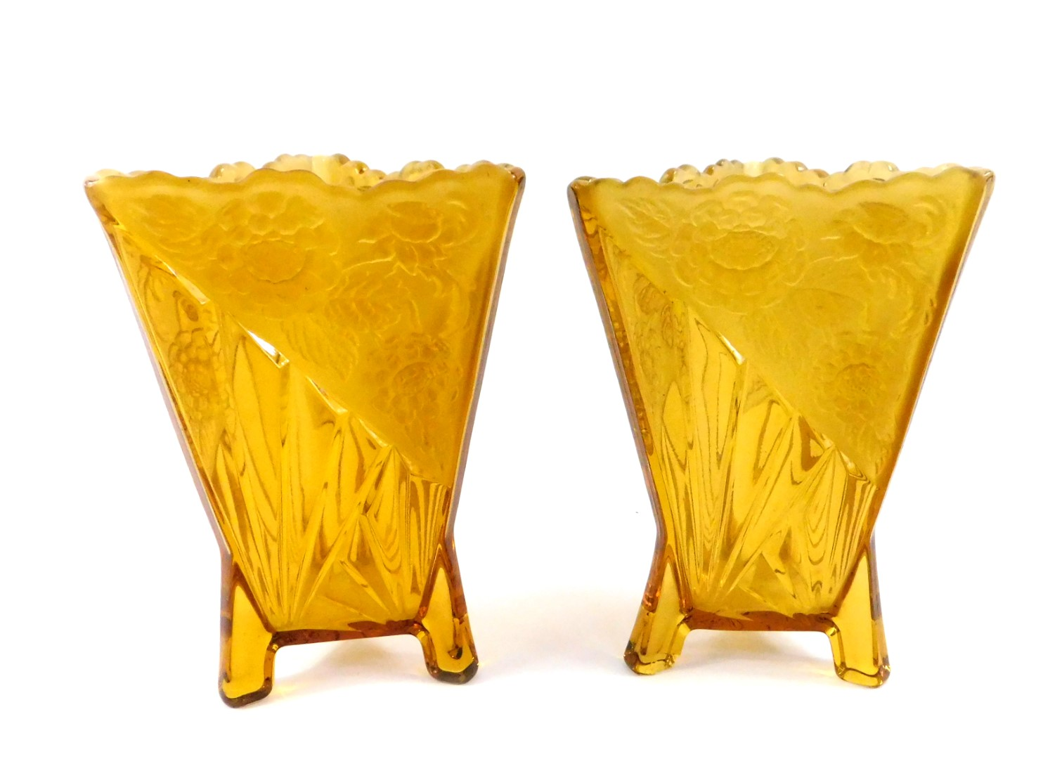Lot 32 - A pair of Art Deco amber glass vases, of triangular form, with moulded fan decoration and frosted