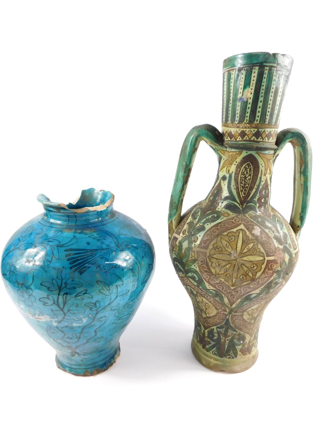 Lot 61 - An Iznik pottery twin handled vase, probably 19thC, of twin handled bulbous form decorated with