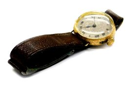 A gentleman's wristwatch, with circular watch head, on silvered floral scroll dial with Roman