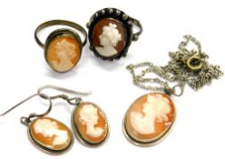 Various cameo set jewellery, comprising two silver plated cameo dress rings, a cameo pendant and