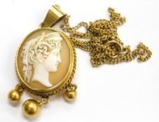 A late 19thC cameo pendant and chain, the oval cameo with figure of a maiden looking right, within