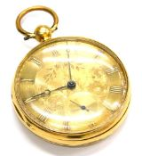 An 18ct gold pocket watch, with large circular gold coloured dial, with flowers and scrolls, with