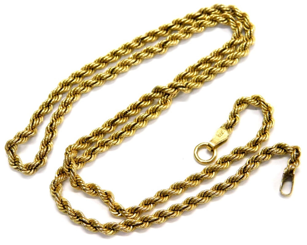 Lot 71 - A 9ct gold rope twist necklace, with single clip clasp design, lacking clasp, 41cm long overall, 2.