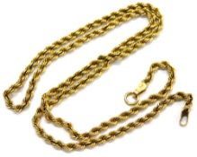 A 9ct gold rope twist necklace, with single clip clasp design, lacking clasp, 41cm long overall, 2.