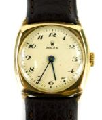 A Rolex 9ct gold gentleman's wristwatch, with cream circular dial, in square watch head, with blue
