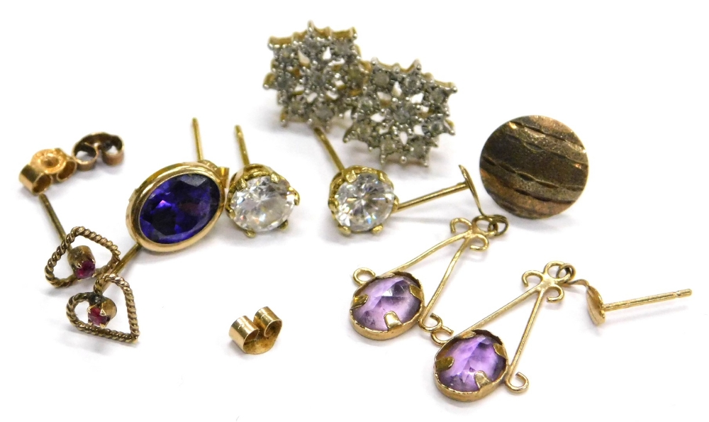 Lot 77 - Various stone set earrings, comprising a pair of 9ct gold and white stone set cluster earrings, a