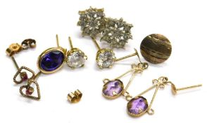 Various stone set earrings, comprising a pair of 9ct gold and white stone set cluster earrings, a