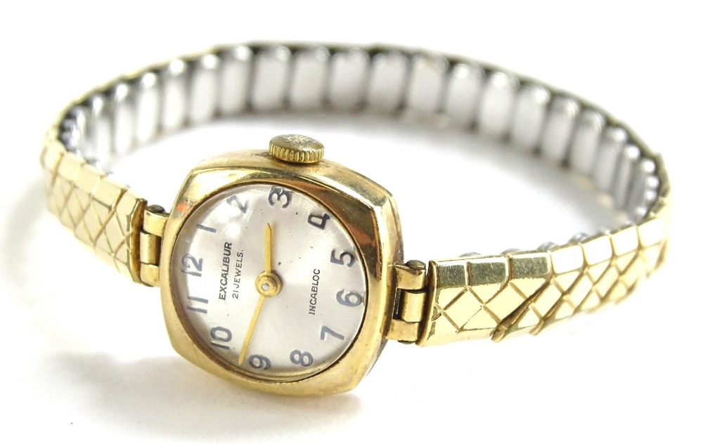 Lot 87 - An Excalibur Incabloc ladies wristwatch, with small square set dial, and silvered backing, with