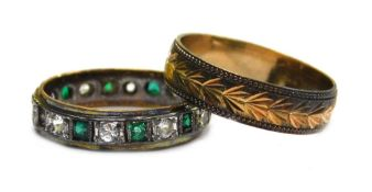 Two dress rings, comprising a 9ct gold wedding band, with etched V shaped design, ring size M½, 2.