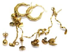 Various 9ct gold and other earrings, comprising a pair of 9ct two row spiral drop earrings, a pair