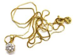 A 9ct gold cubic zirconia set pendant and chain, the pendant with single CZ stone in six claw