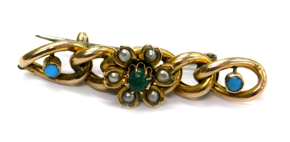 Lot 78 - A 9ct gold and turquoise set bar brooch, with five link design set with turquoise and seed pearl