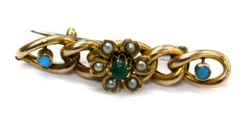 A 9ct gold and turquoise set bar brooch, with five link design set with turquoise and seed pearl