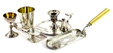 A collection of silver plate, to include a small communion type chalice or egg cup, with