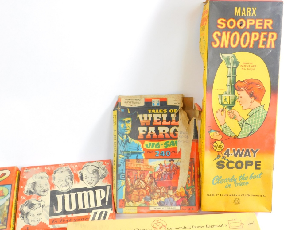 Lot 313 - Games and toys, including a Marx Super Snooper four way scope., Game of Afrika Korps., Lennie Lion's