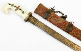 A 19thC Indian Shamshir sword, the slightly curved blade decorated with a hunting scene in gold