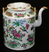 A 19thC Cantonese famille rose kettle, of cylindrical form, with removable lid, and double strap