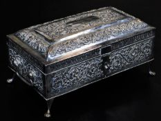An early 20thC Indian ceremonial freedom casket, of rectangular compressed sarcophagus form, heavily