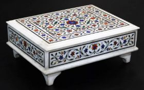 An early 20thC ceremonial freedom casket, with removable lid, heavily decorated with flowers in