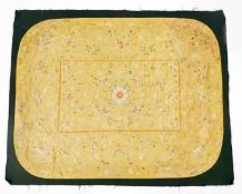A Chinese Imperial yellow ground rectangular silk throne seat cover, finely embroidered in blue,