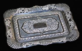 An early 20thC Indian presentation ink stand, of shaped rectangular form, with a pierced