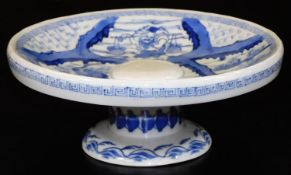 A Japanese tazza, decorated in underglaze blue with a crane, Ebisu and Daikoku within keyfret