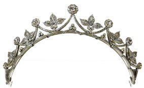 A late 18th/early 19thC tiara, set with an arrangement of paste stones, set in floral clusters and