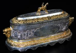 A highly elaborate Indian ceremonial freedom casket, of oval form, with horse and rider knop,