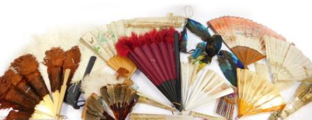 Victorian and later silk fans, brise fans and feather fans, (AF). (a quantity)