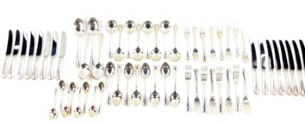 A silver suite of cutlery decorated in the Jesmond pattern, comprising eight dessert and table