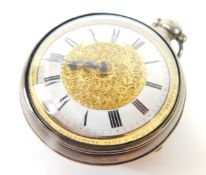 A George IV silver pair cased pocket watch, open faced, key wind, gilt and enamel dial bearing Roman