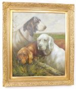 After John Emms (British, 1844-1912). Study of three dogs in a Moorland landscape, oil on canvas,