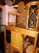 Sundry furniture and effects, comprising two stools, a bamboo table, chest, magazine rack and a