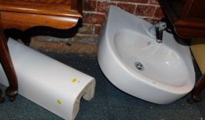 A white ceramic sink, with pedestal, 87cm high, and chrome mixer tap, (2)