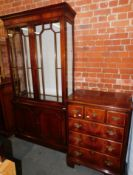 A reproduction mahogany display cabinet, 202cm high, 108cm wide, 45cm deep., together with a similar