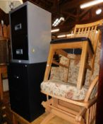 Two steel filing cabinets, a rocking chair and an oak dining chair. (4)